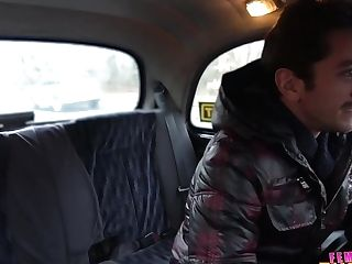 A Female Cab Driver Gets Her Unshaven Cunt Drilled In The Backseat With Cherry Smooch
