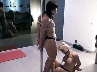 Fine Looking Lesbos Are Attempting To Make Out And Please Each Other While Tied Up