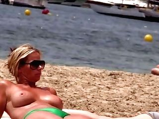 Hot Cougar With Big Tits On Without Bra Beach