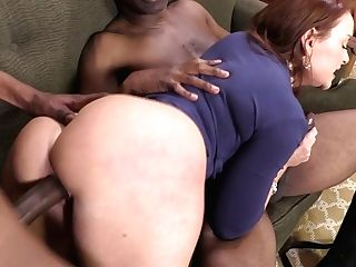 Chesty Crimson Haired Hooker With Fat Rump Janet Mason Sates Two Black Guys