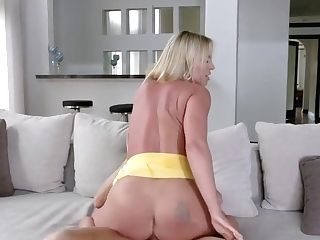 Blonde Mommy Did Not Forbid The Stepson Of Real Fuckfest On The Couch...